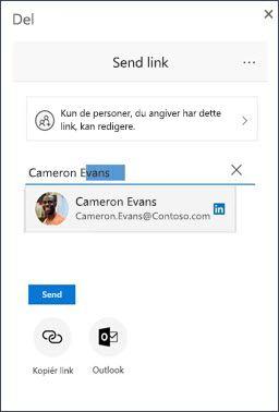 Del dialog i OneDrive med en foreslået LinkedIn-kontakt