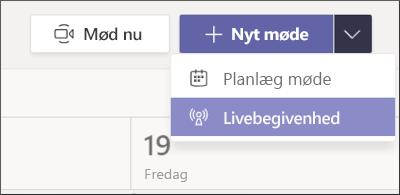 knappen Ny møde – Live-begivenhed