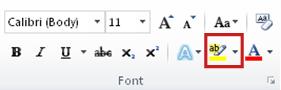 Kommandoen Tekstfremhævningsfarve i gruppen Skrifttype