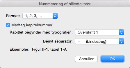 Automatisk tilføje kapitelnumre til din billedtekster i Word