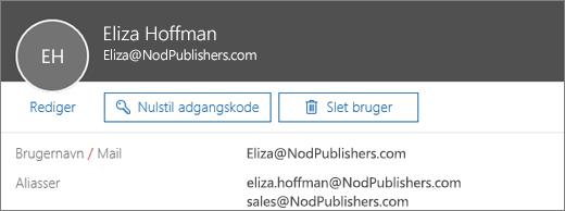 Denne bruger har en primær adresse og to aliasser.