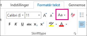 Knappen Store og små bogstaver på fanen Formatér tekst