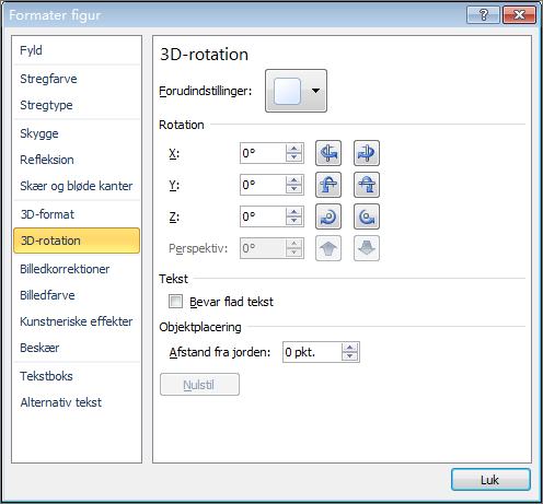 3D-rotation i dialogboksen Formatér figur