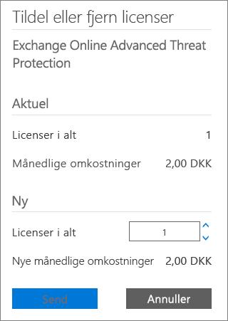 Feltet Samlede licenser og knappen Send i dialogboksen Tilføj eller fjern licenser.