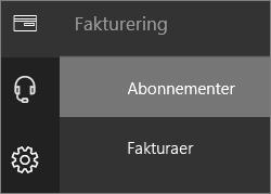 Menuen Fakturering i den nye Office 365 Administration, hvor Abonnementer er valgt.