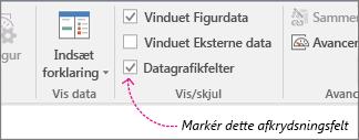 Afkrydsningsfelt for Datagrafikfelter på fanen Data