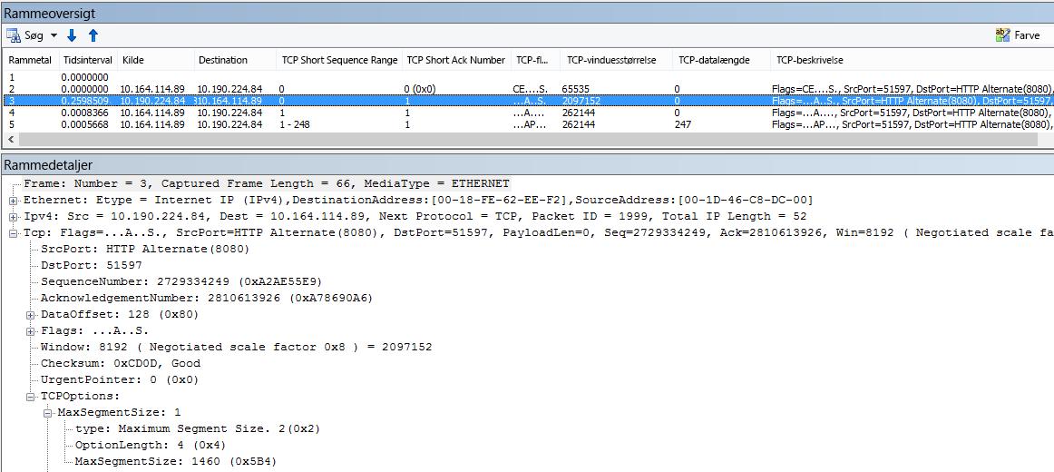 Netværkssporing filtreret i Netmon ved hjælp af indbyggede kolonner.