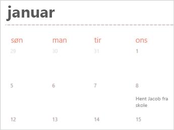 Kalenderskabelon i Excel Online
