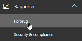 På administrationssiden skal du vælge Rapporter og derefter anvendelse i venstre navigationslinje