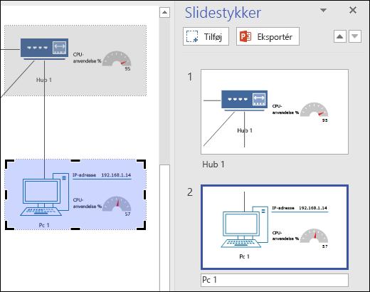 Skærmbillede af ruden Slidestykker i Visio med to slideeksempler vist.
