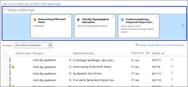 Skærmbilledet capture: Viser vigtigste opdateringer sektion i Messge Center.