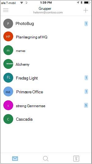Startskærmen på grupper-mobilappen