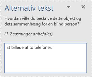 Et eksempel på dårlig alternativ tekst i Word til Windows.