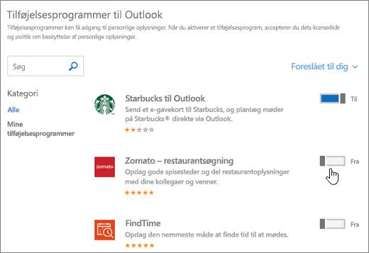 Skærmbillede af siden Tilføjelsesprogrammer til Outlook, hvor du kan få vist installerede tilføjelsesprogrammer og søge efter samt vælge flere tilføjelsesprogrammer.