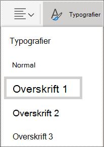 Indstillinger for overskrift typografier i OneNote Online.