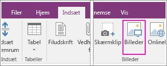 Skærmbillede af knappen Indsæt billeder i OneNote 2016.