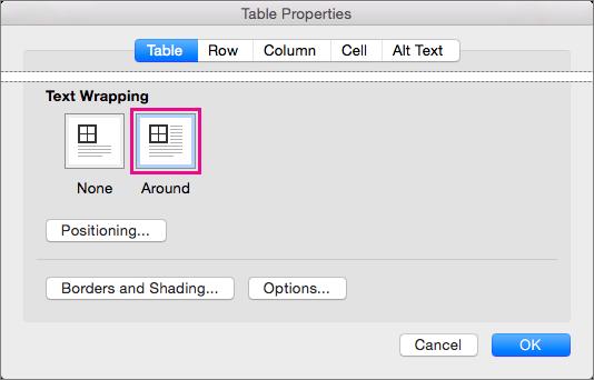 Klik på Omkring, for at teksten skal ombrydes rundt om den markerede tabel.