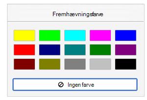 Fremhævningsfarver
