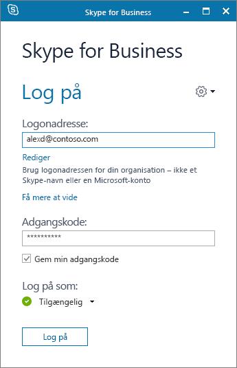 Billede af logonskærmen i Skype for Business