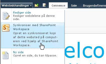 Vælg denne indstilling for at synkronisere et SharePoint-websted til din computer
