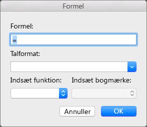 Tilføj og rediger formler i dialogboksen Formel.