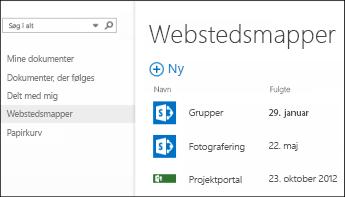 Vælg Webstedsmapper i linjen Hurtig handling i Office 365 for at se en liste over SharePoint Online-websteder, du følger.