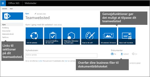 Den oprindelige side med teamwebsteder indeholder felter til ofte anvendte funktioner til tilpasning af dit websted.