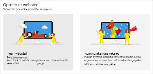 Valg af to skabeloner på øverste niveau, team- eller kommunikationswebsted.