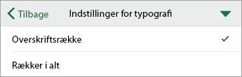 Kommandoen Indstillinger for typografi, med kolonneoverskrift markeret