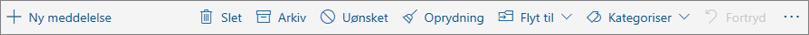 Et skærmbillede viser kommandolinjen, der vises i læseruden med indstillinger til hyppige handlinger. som f.eks. at slette, arkivere og flytte til.
