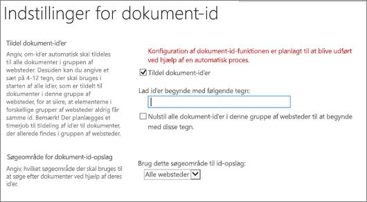 Tildel dokument-id'er i på siden Indstillinger for dokument-ID