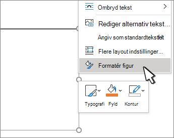 Element valgt i menuen Formatér figur