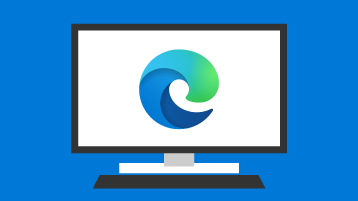 Nyt Microsoft Edge-logo på PC-skærmen