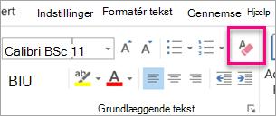 Ryd alle ikonet formatering er fremhævet på fanen meddelelse
