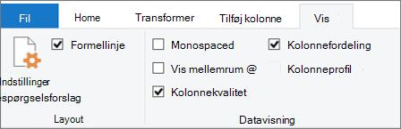 Indstillinger for data profil under fanen Vis på båndet i Power-forespørgsels editor