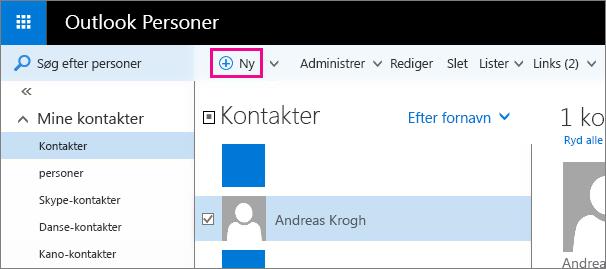 """Skærmbillede af siden Personer i Outlook med en billedforklaring for kommandoen """"Ny""""."""
