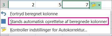 Standse automatisk oprettelse af beregnede kolonner