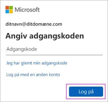 Angiv din adgangskode til Outlook.com