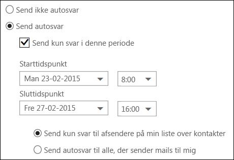 Indstil klokkeslæt for automatiske svar i Outlook på internettet
