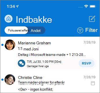 Fokuseret indbakke i Outlook Mobile