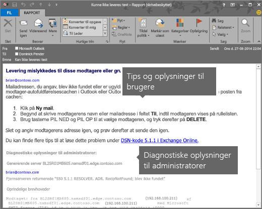 NDR, der viser diagnosticeringsoplysninger om brugere og administratorer