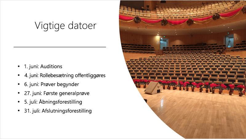 Eksempel slide med en tekstlinje med tekst og billeder, som design idéer har arrangeret og arrangeret.