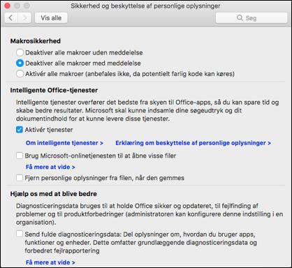 Aktivere intelligente featues på Mac