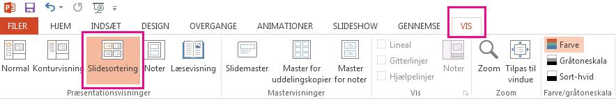 Klik på Slidesortering på fanen Vis.