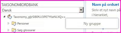 Skærmbillede af navigationsruden i værktøjet til styring af ordbank, som viser, at menupunktet Ny gruppe er markeret