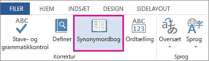Kommandoen Synonymordbog i Korrekturredskaber under fanen Gennemse
