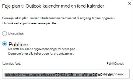Skærmbillede af dialogboksen Føj plan til Outlook kalender