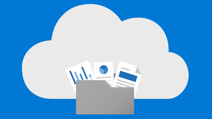 Konceptuelt billede af filer, der gemmes i skyen