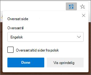 Microsoft Translator panel, der viser status for oversættelsen.