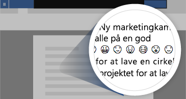 Dokument med zoomet område, der viser et antal tilgængelige emojis